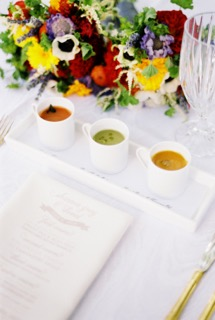 Warm soup trio, menu printed on napkin