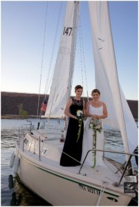 Beach Wedding Bride and Bridesmaid Sailboat